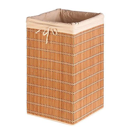Panier à linge carré en bambou