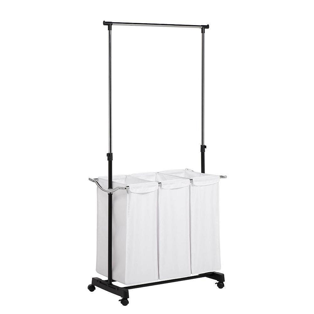 Honey-Can-Do Rolling Laundry Cart with Hanging Bar