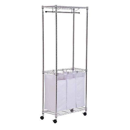 74-inch H Chrome Rolling Urban Laundry Centre