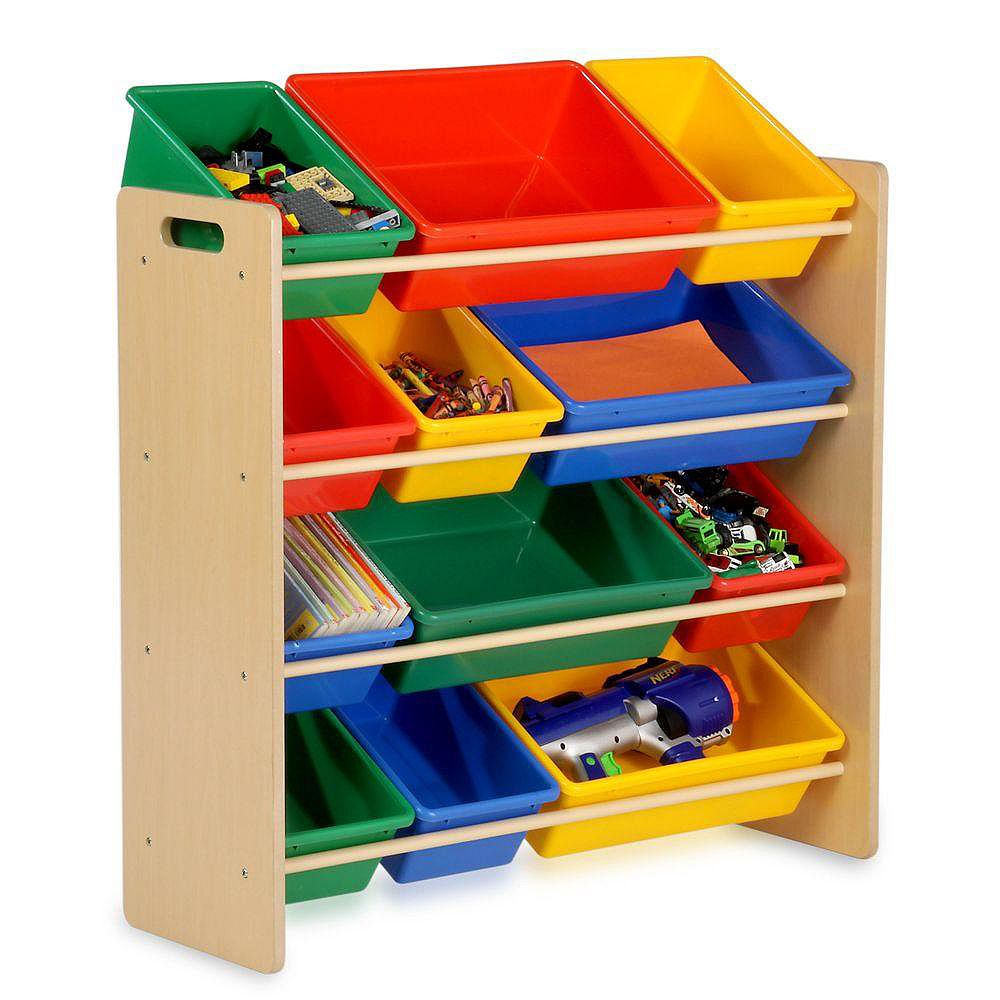 Honey-Can-Do 12-Bin Storage Oraganizer for Kids with Removable Plastic Bins in Natural