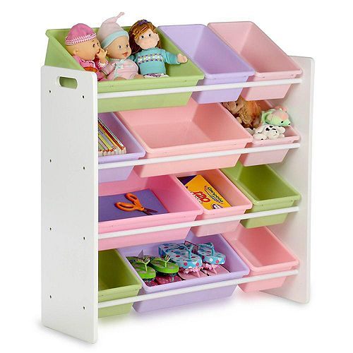 12-Bin Storage Organizer in White & Pastels for Kids