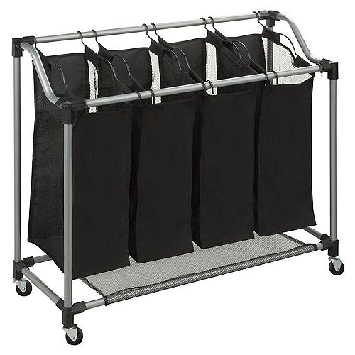 Honey-Can-Do Quad Laundry Sorter with Mesh Bags, Steel/Black