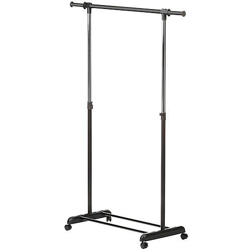 Expandable Steel Rolling Garment Rack in Chrome/Black