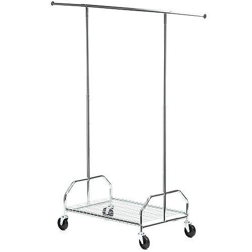 Honey-Can-Do Bottom Shelf Steel Rolling Garment Rack in Chrome