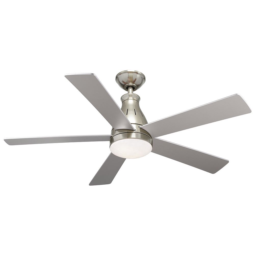 Hampton Bay Cobram 48 Inch Integrated Led Indoor Nickel Ceiling Fan With Light Kit And Rem The Home Depot Canada