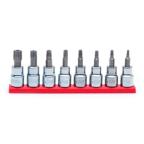 3/8-inch Drive Tamper Proof Torx Bit Socket Set (8-Piece)