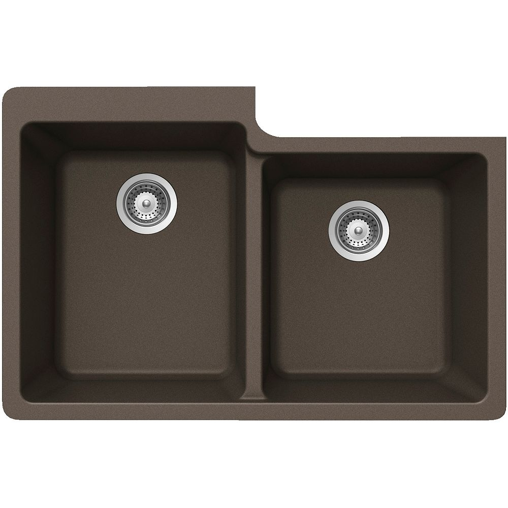 Wessan Granite One and Three-Quarters Bowl Undermount Sink in Bronze