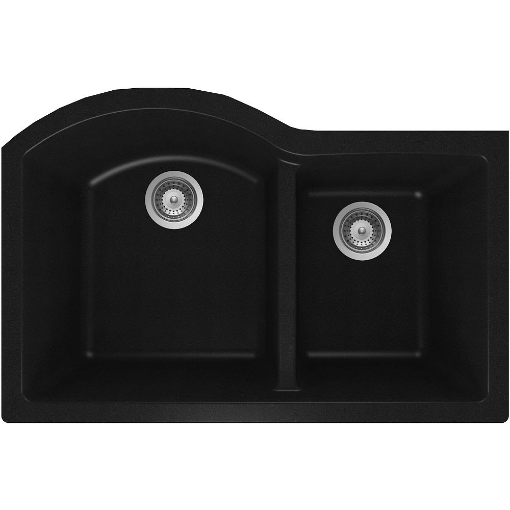 Wessan Granite One and Three-Quarters Bowl Undermount Sink in Black