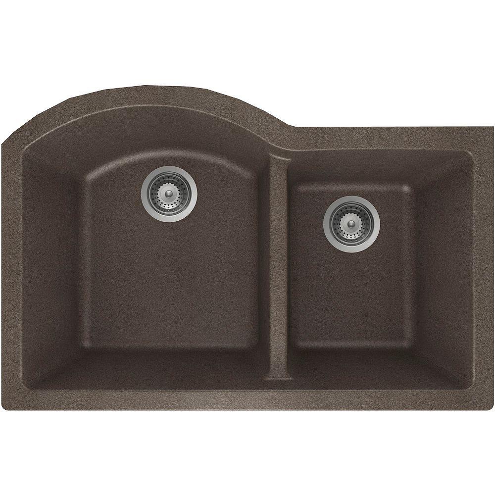 Wessan Évier en granit à une cuve et trois-quarts à montage sous le plan de travail en bronze