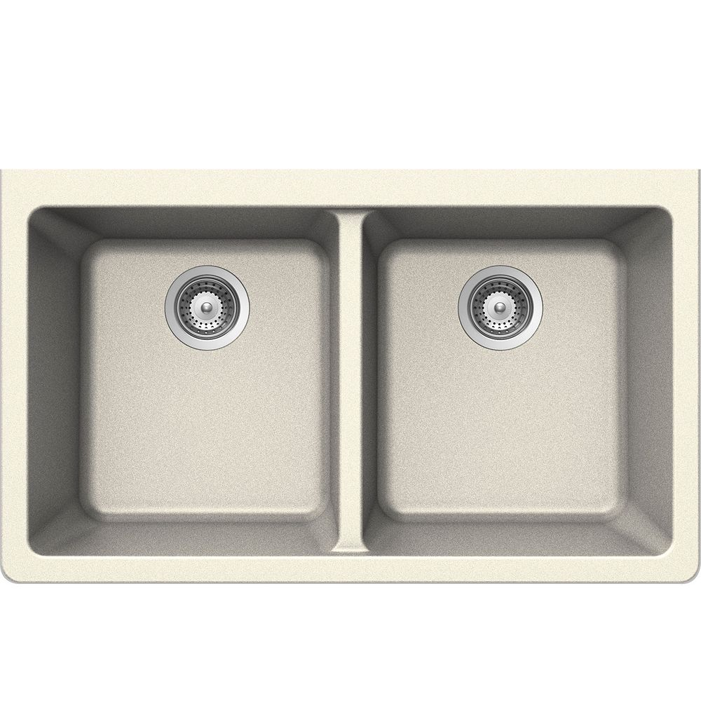 Wessan Granite Double Bowl Undermount Sink in Magnolia