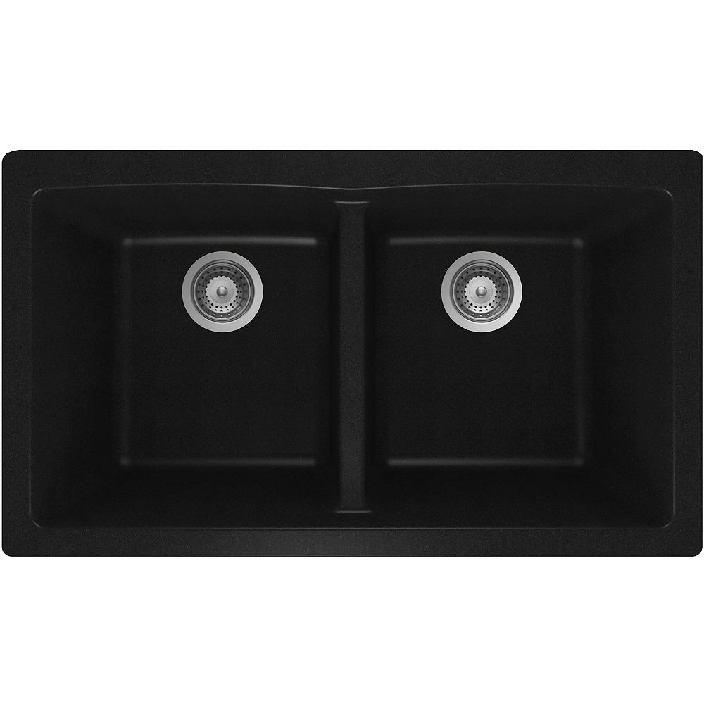 Wessan Granite Double Bowl Undermount Sink in Black