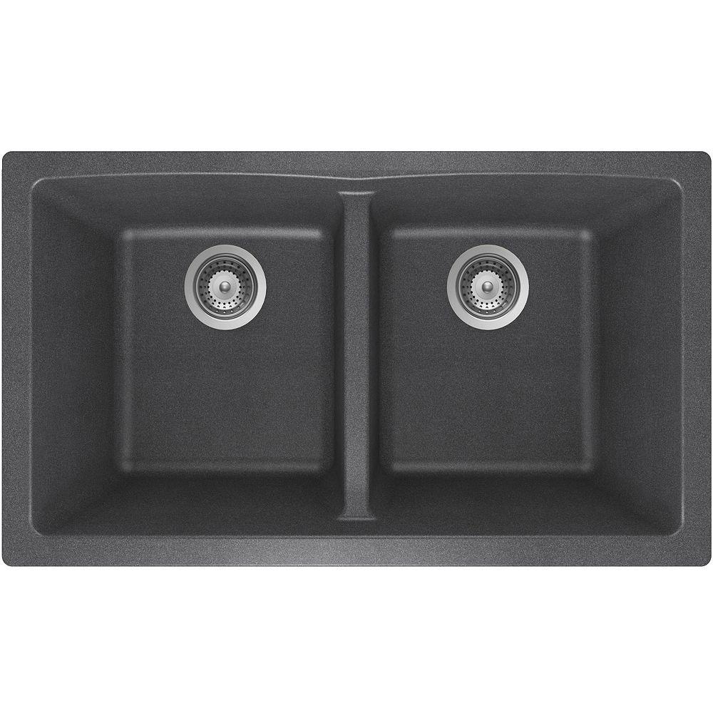 Wessan Granite Double Bowl Undermount Sink in Steel