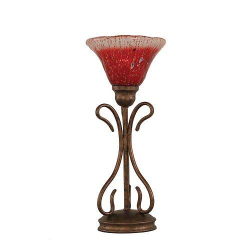 Concord 7 en bronze Lampe de table à incandescence avec un cristal de verre Framboise