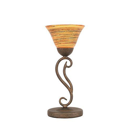 Concord 7 en bronze Lampe de table incandescence par une  Saturne verre