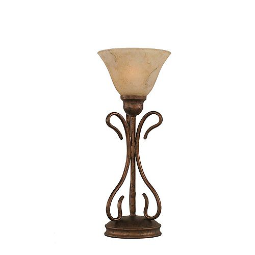 Concord 7 en bronze Lampe de table incandescence par une Marbre Verre italien