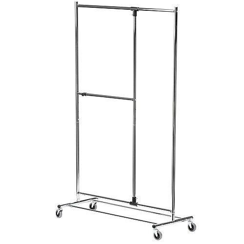 "Honey-Can-Do 80"" Dual Bar Chrome Adjustable Garment Rack"