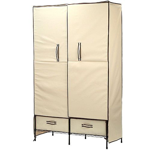 Honey-Can-Do 71-inch H x 45-inch W x 18-inch D Double-Door Portable Closet with Two Drawers in Natural