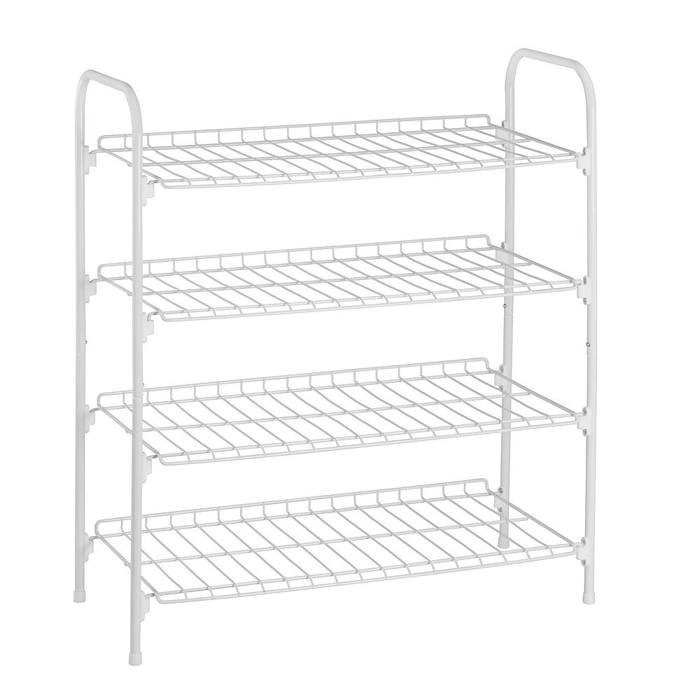 Honey-Can-Do 27.6-inch x 24.8-inch x 11.8-inch 4 Tier White Steel Wire Floor Accessory Rack