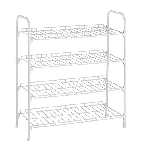 27.6-inch x 24.8-inch x 11.8-inch 4 Tier White Steel Wire Floor Accessory Rack