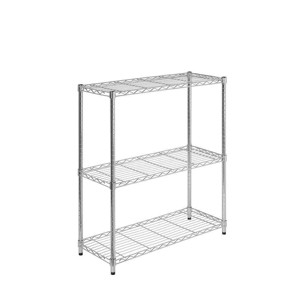 Honey-Can-Do 3-Shelf 30-inch H x 24-inch W x 14-inch D Steel Shelving Unit in Chrome