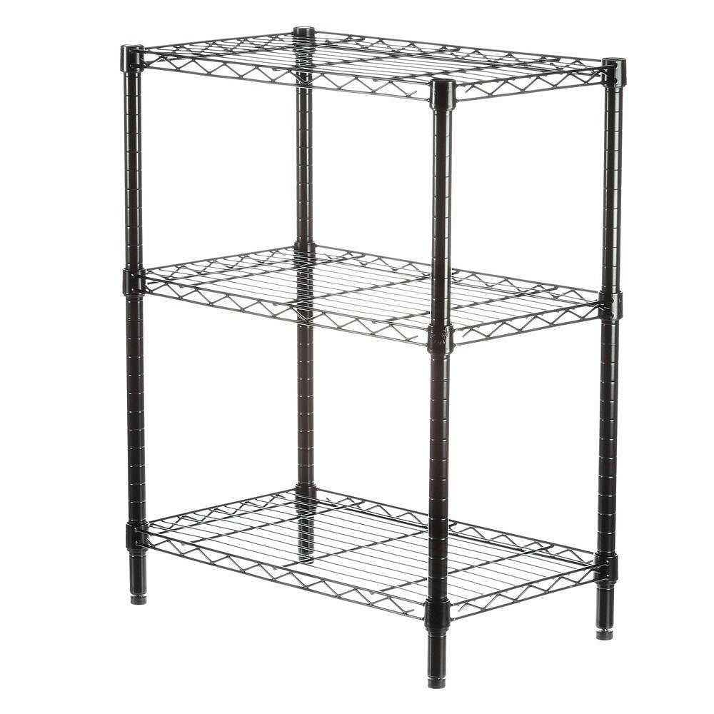 Honey-Can-Do 3-Shelf 30-inch H x 24-inch W x 14-inch D Steel Commercial Shelving Unit