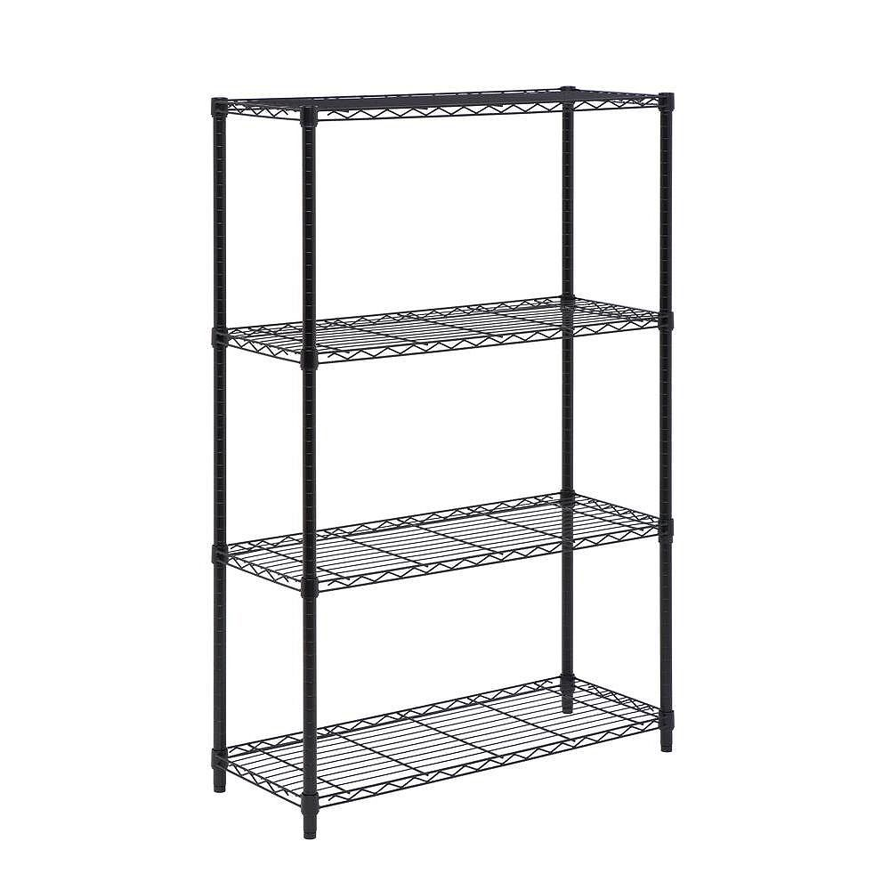 Honey-Can-Do 4-Shelf 54-inch H x 36-inch W x 14-inch D Steel Shelving Unit in Black