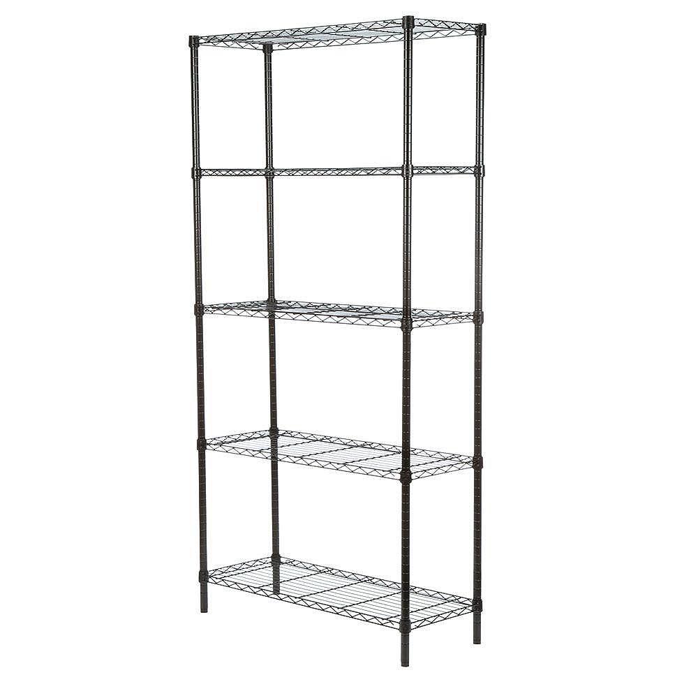 Honey-Can-Do 5-Shelf 72-inch H x 36-inch W x 14-inch D Steel Shelving Unit in Black