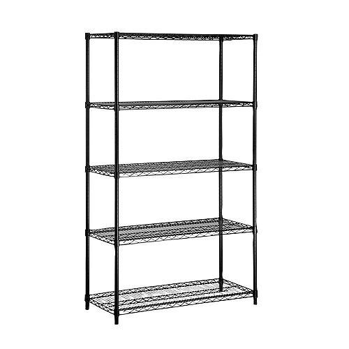 Honey-Can-Do 5-Shelf 72-inch H x 42-inch W x 18-inch D Steel Shelving Unit in Black