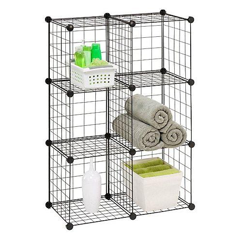 30.25-inch W x 44.75-inch H Black 6-Cube Modular Mesh Storage Organizer