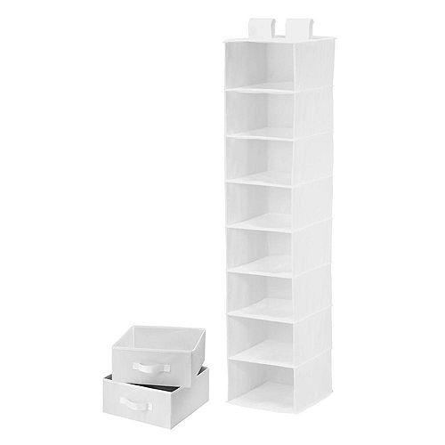 8-Shelf White Polyester Organizer with 2 Drawers