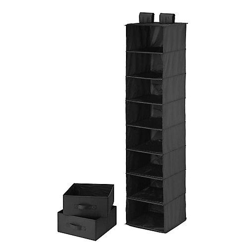 8-Shelf 2-Drawer Organizer and in Black Polyester