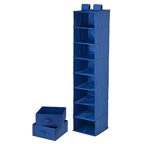 8-Shelf 2-Drawer Organizer and in Blue Polyester