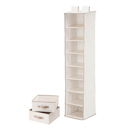 8-Shelf 2-Drawer Organizer and in Natural Polycotton