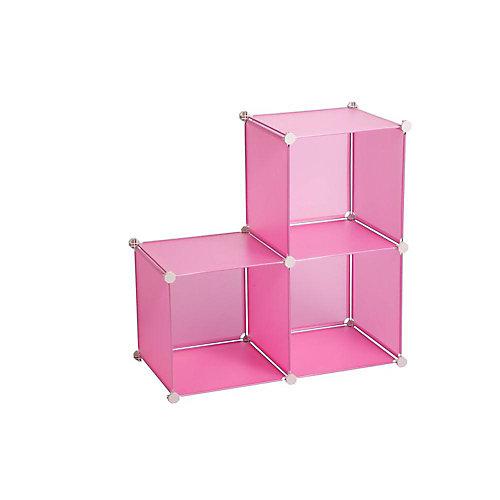 Jeu de cubes de rangement, 14 po, rose, 3/paq.