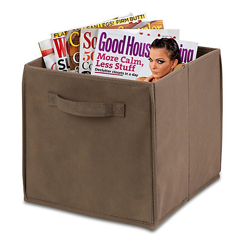 Collapsible Polyester Storage Cube in Taupe (4-Pack)
