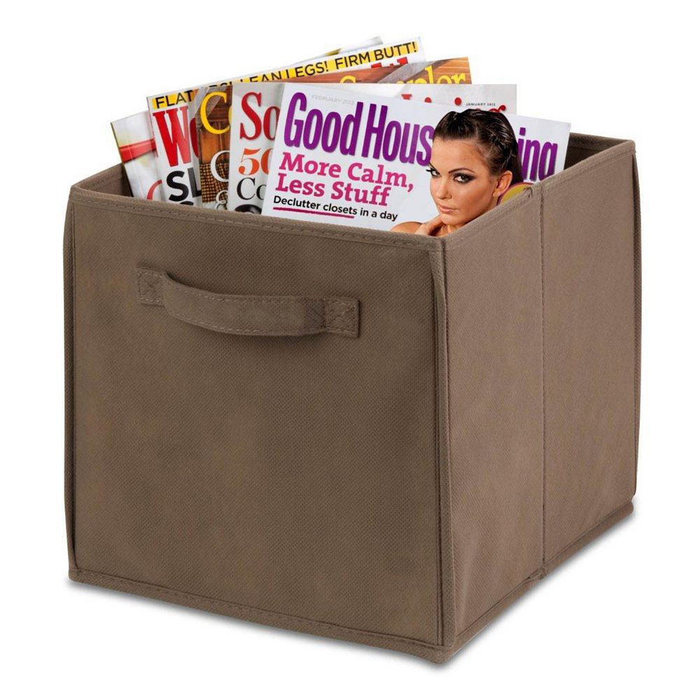Honey-Can-Do Collapsible Polyester Storage Cube in Taupe (4-Pack)