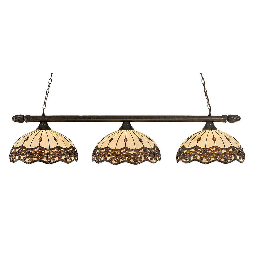 Filament Design Concord 3-Light Ceiling Bronze Billiard Bar with a Roman Jewel Tiffany Glass