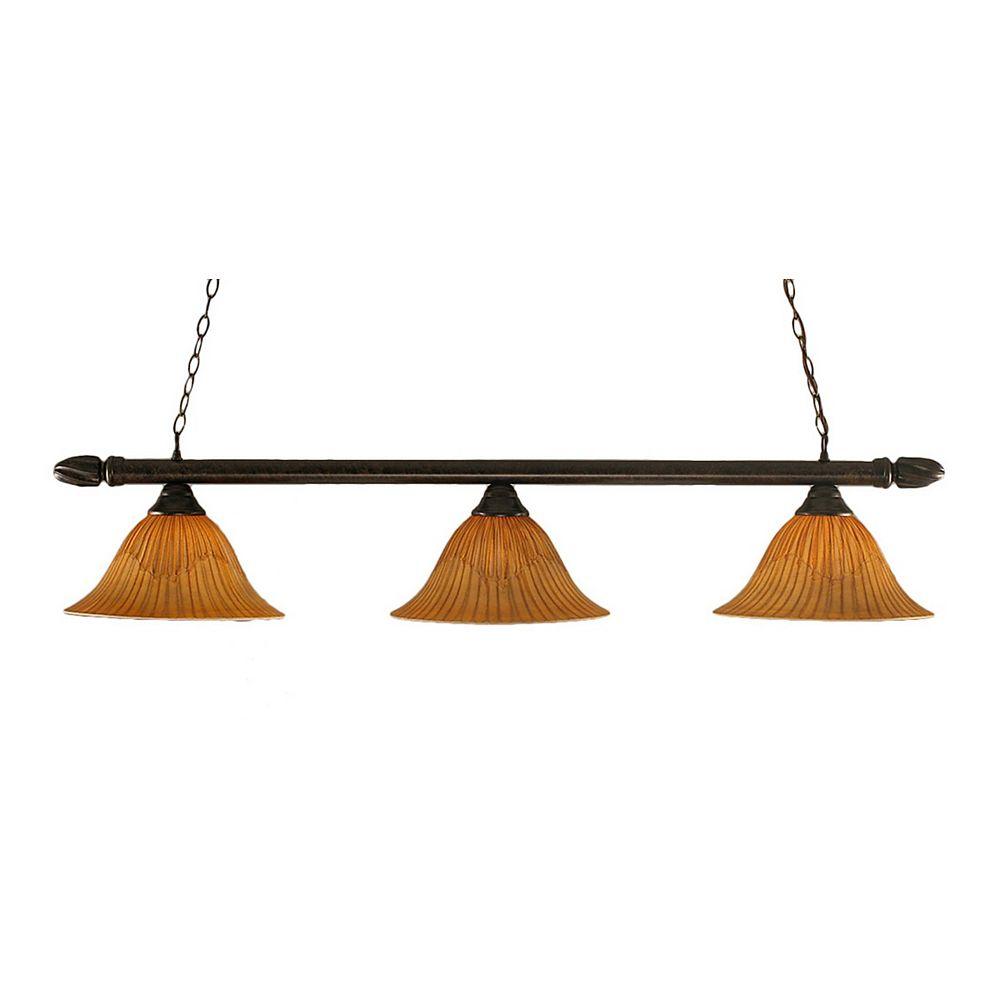 Filament Design Concord 3 lumières plafond Bronze Incandescent Bar Billard avec un verre Tiger