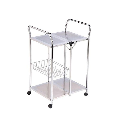 Honey-Can-Do Deluxe Foldable Utility Table Cart in Chrome