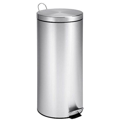 Poubelle ronde de 30 litres avec seau, acier inoxydable