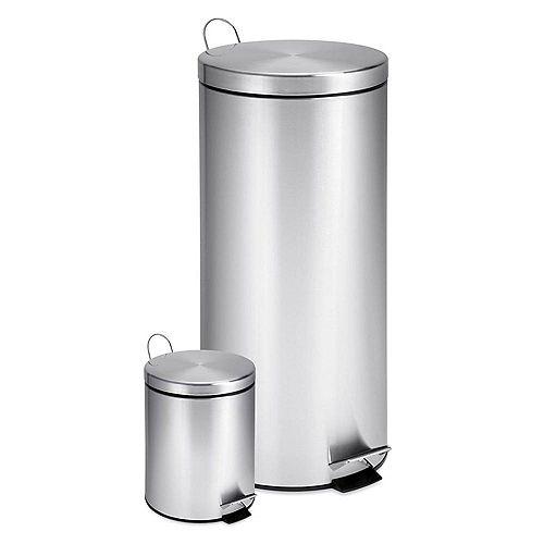 Jeu de poubelles en acier inoxydable de 30 litres et de 3 litres