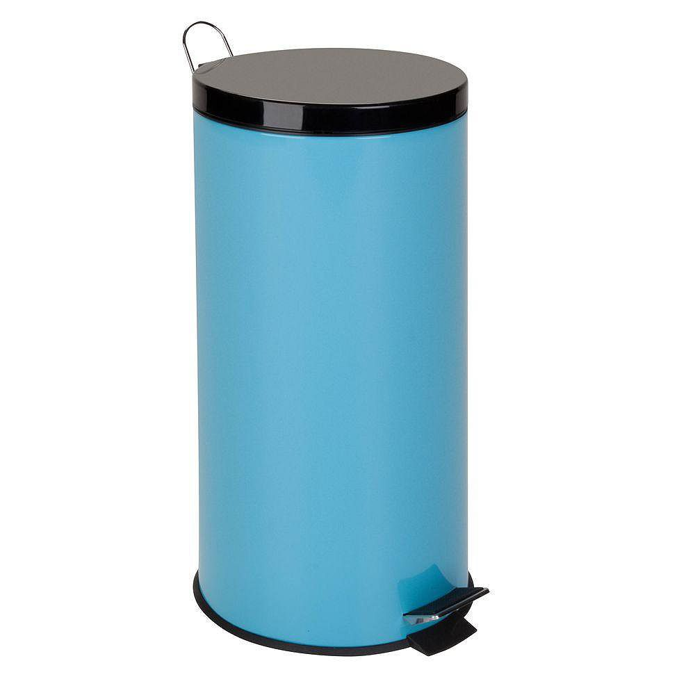 Honey-Can-Do 30L Metal Step Trash Can, Blue