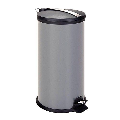 Poubelle en métal de 30 litres avec pédale, gris