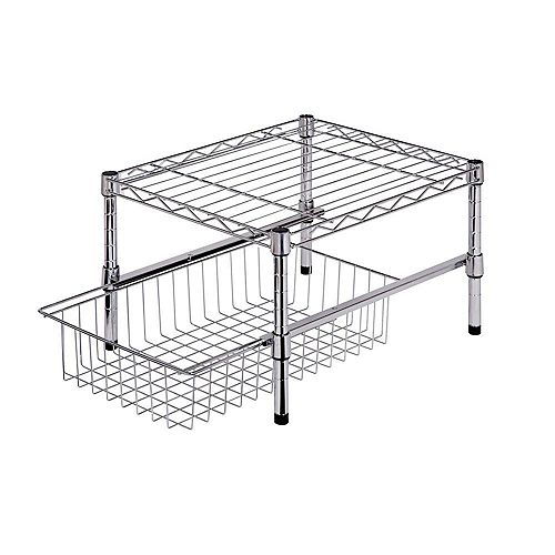 Honey-Can-Do 11-inch H x 15-inch W x 18-inch D Adjustable Steel Shelf with Basket Cabinet Organizer in Chrome