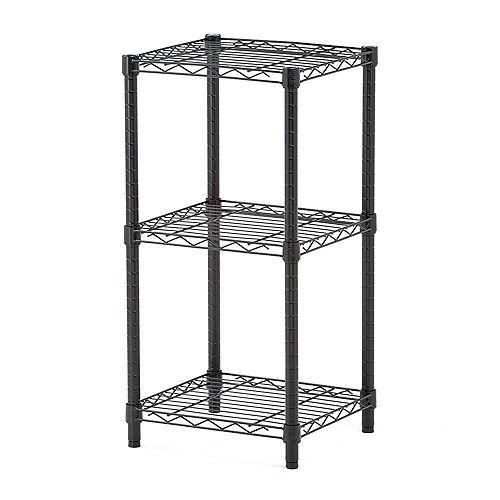 Honey-Can-Do 3-Shelf 14-inch W x 30-inch H x 15-inch D Steel Shelving Unit in Black