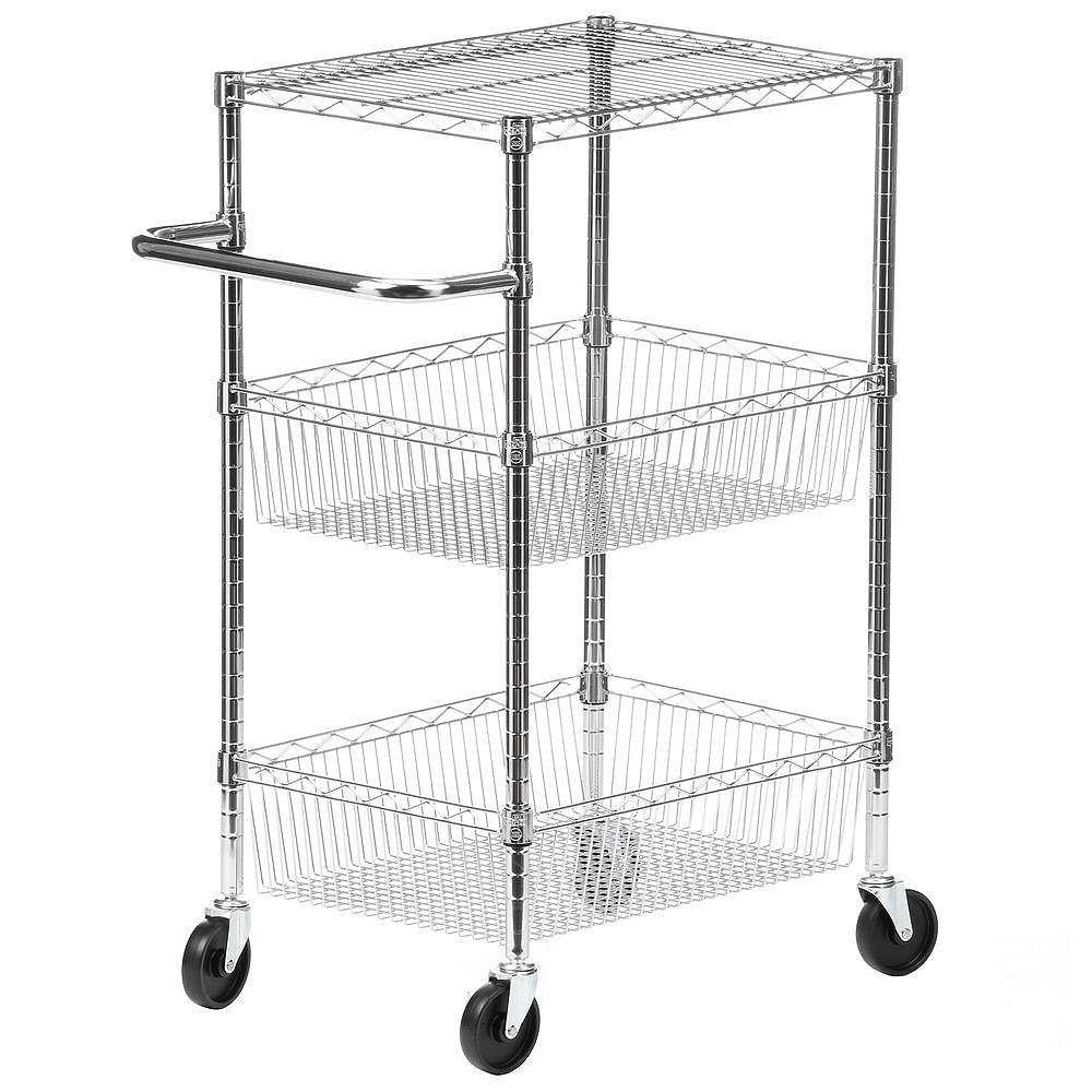 Honey-Can-Do 3-Tier Steel Wire Heavy Duty Rolling Storage Cart in Chrome