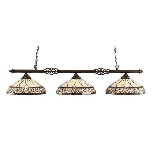 Concord 3 lumières plafond granite foncé incandescence Bar Billard Avec A Royal Merlot Le verre selon Tiffany