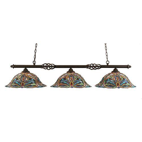 Concord 3 lumières plafond granite foncé incandescence Bar Billard avec Kaleidoscope Le verre selon Tiffany