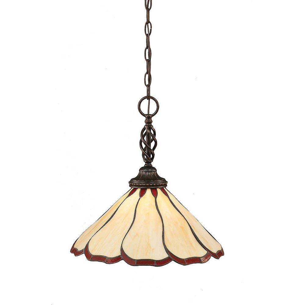 Filament Design Concord 1 lumière au plafond granite foncé Pendeloque incandescence par une Honey Brun et verre selon Tiffany