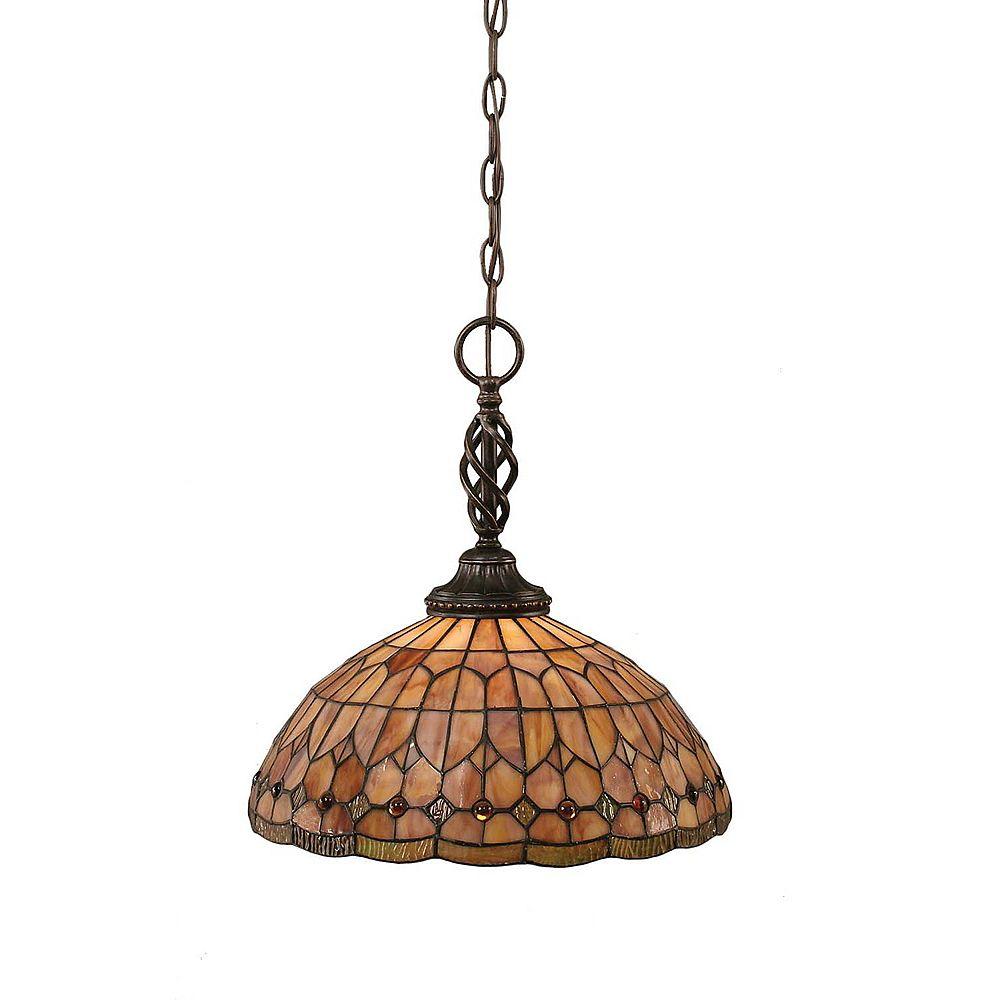 Filament Design Concord 1-Light Ceiling Dark Granite Pendant with a Rosetta Tiffany Glass